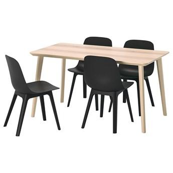 IKEA LISABO / ODGER Stół i 4 krzesła, okleina jesionowa/antracyt, 140x78 cm