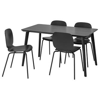 IKEA LISABO / SVENBERTIL Stół i 4 krzesła, czarny/czarny, 140x78 cm