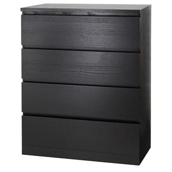 IKEA MALM Komoda, 4 szuflady, Czarnobrąz, 80x100 cm