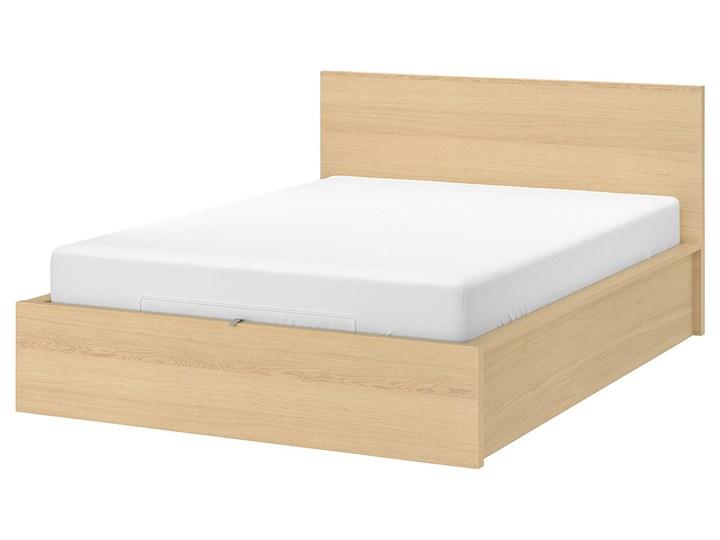 IKEA MALM Łóżko z pojemnikiem, Okleina dębowa bejcowana na biało, 180x200 cm