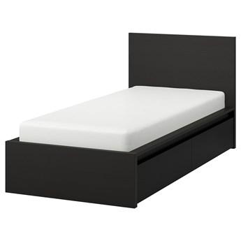 IKEA MALM Rama łóżka z 2 pojemnikami, Czarnobrąz, 90x200 cm