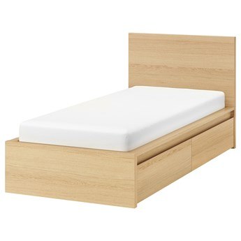 IKEA MALM Rama łóżka z 2 pojemnikami, Okleina dębowa bejcowana na biało, 90x200 cm