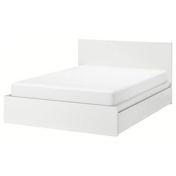 IKEA MALM Rama łóżka z 4 pojemnikami, Biały, 140x200 cm