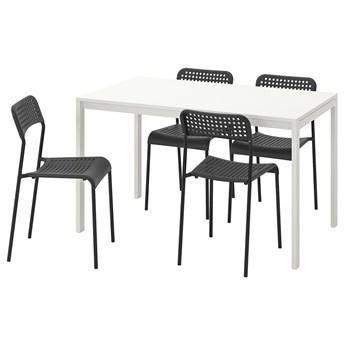 IKEA MELLTORP / ADDE Stół i 4 krzesła, biały/czarny, 125 cm