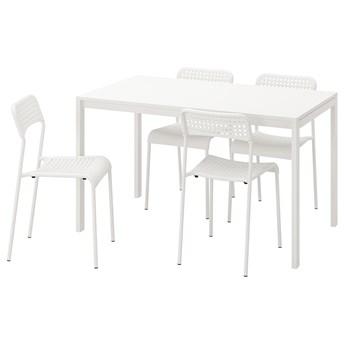 IKEA MELLTORP / ADDE Stół i 4 krzesła, biały, 125 cm