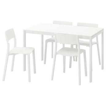 IKEA MELLTORP / JANINGE Stół i 4 krzesła, biały/biały, 125 cm