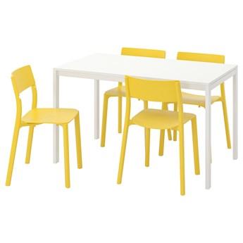 IKEA MELLTORP / JANINGE Stół i 4 krzesła, biały/żółty, 125 cm