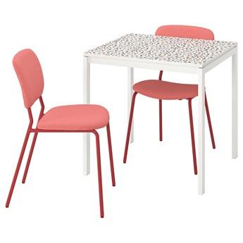 IKEA MELLTORP / KARLJAN Stół i 2 krzesła, wzór mozaika biały/Kabusa czerwony, 75x75 cm