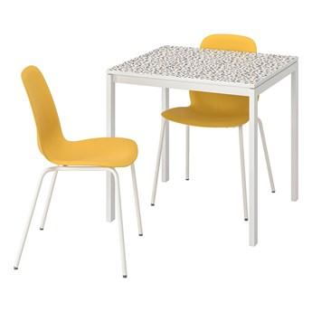 IKEA MELLTORP / LEIFARNE Stół i 2 krzesła, wzór mozaika biały/Broringe biały, 75x75 cm