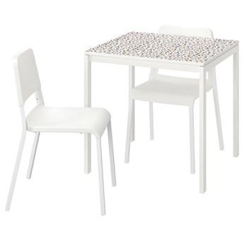 IKEA MELLTORP / TEODORES Stół i 2 krzesła, wzór mozaika biały/biały, 75x75 cm