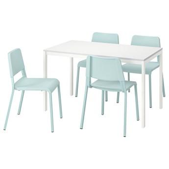IKEA MELLTORP / TEODORES Stół i 4 krzesła, biały/jasnoturkusowy, 125 cm