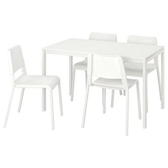 IKEA MELLTORP / TEODORES Stół i 4 krzesła, biały, 125 cm