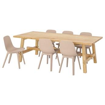 IKEA MÖCKELBY / ODGER Stół i 6 krzeseł, dąb/biały/beżowy, 235x100 cm