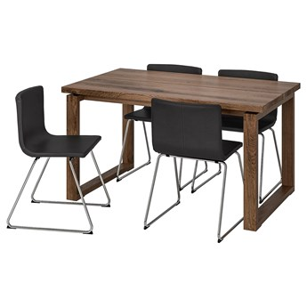 IKEA MÖRBYLÅNGA / BERNHARD Stół i 4 krzesła, brązowy/Mjuk ciemnobrązowy, 140x85 cm