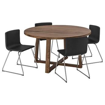 IKEA MÖRBYLÅNGA / BERNHARD Stół i 4 krzesła, okl dęb brązowa bejca/Mjuk ciemnobrązowy, 145 cm