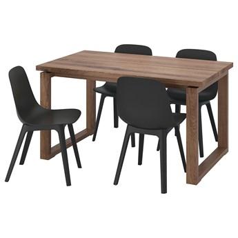 IKEA MÖRBYLÅNGA / ODGER Stół i 4 krzesła, okl dęb brązowa bejca/antracyt, 140x85 cm