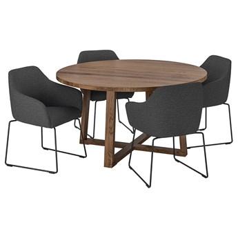 IKEA MÖRBYLÅNGA / TOSSBERG Stół i 4 krzesła, okl dęb brązowa bejca/metal szary, 145 cm