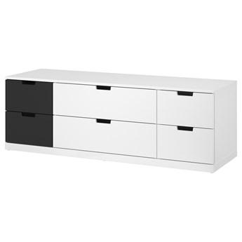 IKEA NORDLI Komoda, 6 szuflad, biały/antracyt, 160x54 cm