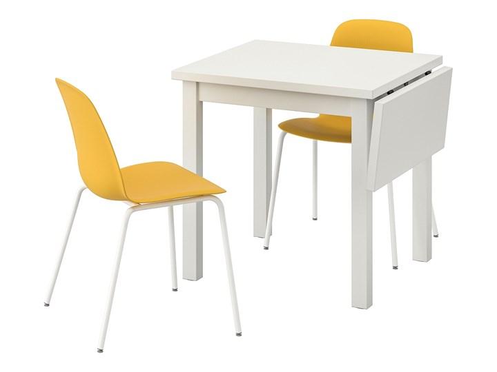 IKEA NORDVIKEN / LEIFARNE Stół i 2 krzesła, biały/Broringe ciemnożółty, 74/104x74 cm