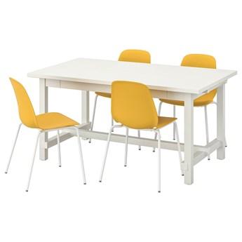 IKEA NORDVIKEN / LEIFARNE Stół i 4 krzesła, biały/Broringe biały, 152/223x95 cm
