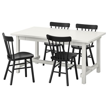 IKEA NORDVIKEN / NORRARYD Stół i 4 krzesła, biały/czarny, 152/223x95 cm
