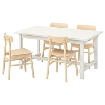 IKEA NORDVIKEN / RÖNNINGE Stół i 4 krzesła, biały/brzoza, 152/223x95 cm