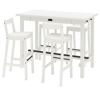IKEA NORDVIKEN / NORDVIKEN Stół barowy + 4 krzes bar, biały/biały