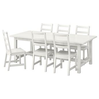 IKEA NORDVIKEN / NORDVIKEN Stół i 6 krzeseł, biały/biały, 210/289x105 cm