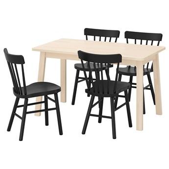 IKEA NORRÅKER / NORRARYD Stół i 4 krzesła, brzoza/czarny, 125x74 cm