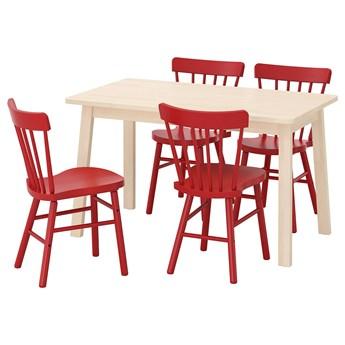 IKEA NORRÅKER / NORRARYD Stół i 4 krzesła, brzoza/czerwony, 125x74 cm