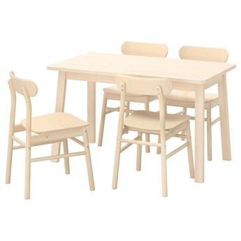 IKEA NORRÅKER / RÖNNINGE Stół i 4 krzesła, brzoza/brzoza, 125x74 cm