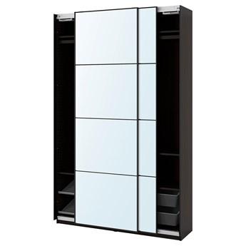 IKEA PAX / AULI Kombinacja szafy, czarnybrąz/lustro, 150x44x236 cm