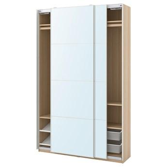 IKEA PAX / AULI Kombinacja szafy, dąb bejcowany na biało/lustro, 150x44x236 cm