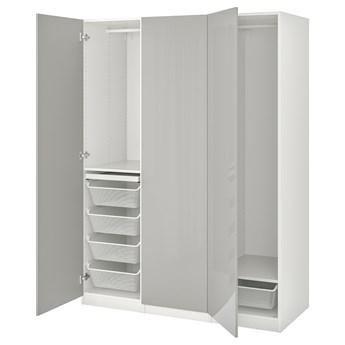 IKEA PAX / FARDAL Kombinacja szafy, biały/wysoki połysk jasnoszary, 150x60x201 cm