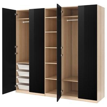 IKEA PAX / FARDAL Kombinacja szafy, dąb bejcowany na biało/połysk/czarny, 250x60x236 cm