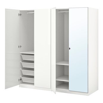 IKEA PAX / FARDAL/VIKEDAL Kombinacja szafy, połysk biały/lustro, 200x60x201 cm