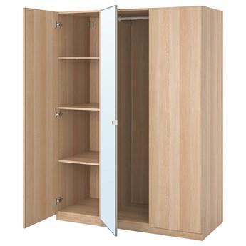 IKEA PAX / FORSAND/VIKEDAL Kombinacja szafy, dąb bejcowany na biało/lustro, 150x60x201 cm