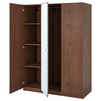 IKEA PAX / FORSAND/VIKEDAL Kombinacja szafy, imitacja okleiny bejc na brąz/lustro, 150x60x201 cm