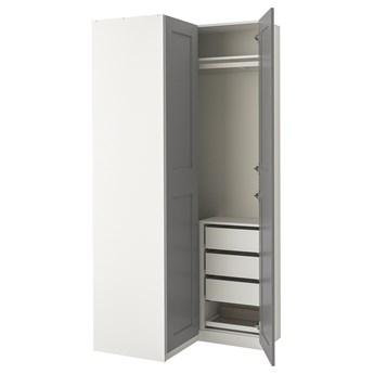 IKEA PAX / GRIMO Kombinacja szafy, biały/Grimo szary, 88/111x236 cm