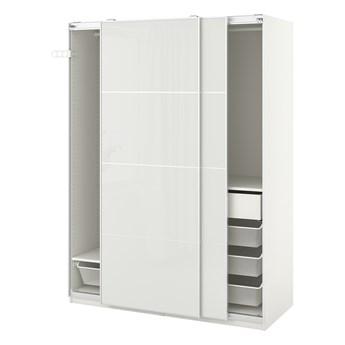 IKEA PAX / HOKKSUND Kombinacja szafy, biały/połysk jasnoszary, 150x66x201 cm