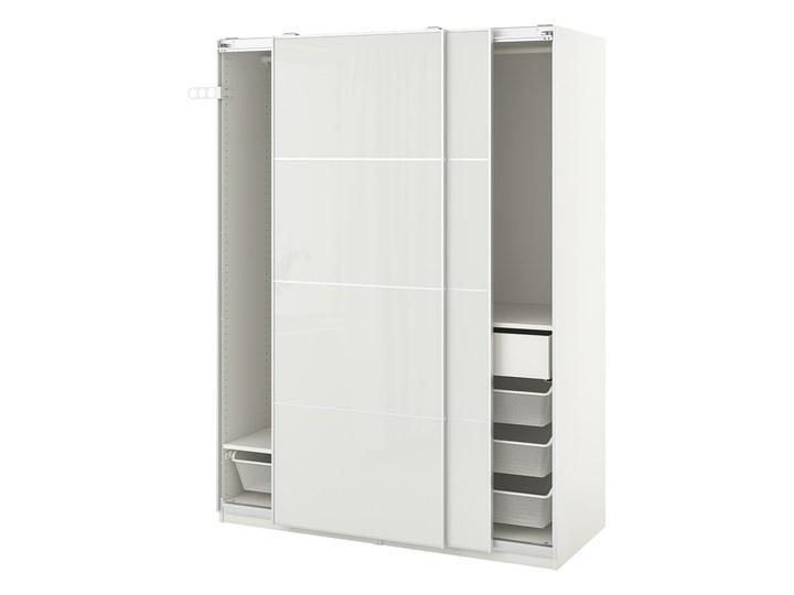 IKEA PAX / HOKKSUND Kombinacja szafy, biały/połysk jasnoszary, 150x66x201 cm Rodzaj drzwi Przesuwne Płyta laminowana Kategoria Szafy do garderoby
