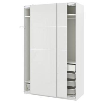 IKEA PAX / HOKKSUND Kombinacja szafy, biały/połysk jasnoszary, 150x66x236 cm