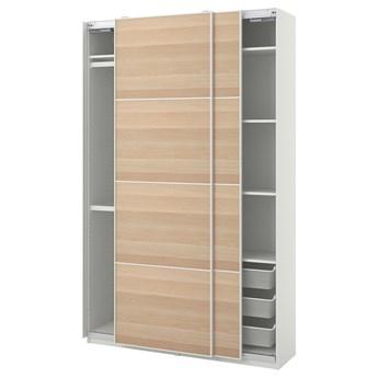 IKEA PAX / MEHAMN Kombinacja szafy, biały/dąb bejcowany na biało, 150x44x236 cm