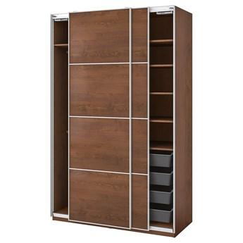 IKEA PAX / MEHAMN Kombinacja szafy, imitacja okleiny bejc na brąz, 150x66x236 cm