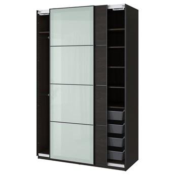 IKEA PAX / MEHAMN/SEKKEN Kombinacja szafy, czarnybrąz/szkło matowe, 150x66x236 cm