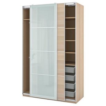 IKEA PAX / MEHAMN/SEKKEN Kombinacja szafy, dąb bejcowany na biało/szkło matowe, 150x66x236 cm