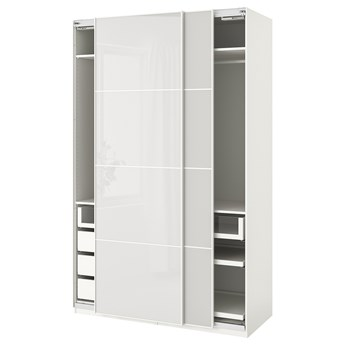 IKEA PAX Szafa, biały/Hokksund jasnoszary, 150x66x236 cm
