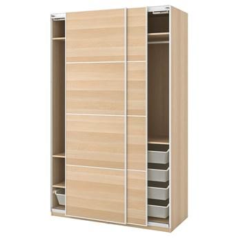 IKEA PAX Szafa, dąb bejcowany na biało/Mehamn dąb bejcowany na biało, 150x66x236 cm