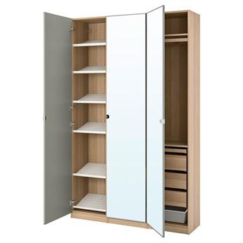 IKEA PAX / VIKEDAL Kombinacja szafy, dąb bejcowany na biało/lustro, 150x38x236 cm