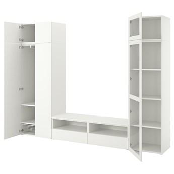 IKEA PLATSA Kombinacja TV/szafki 6 drzwi+2 szu, biały/Fonnes Värd, 300x42x221 cm